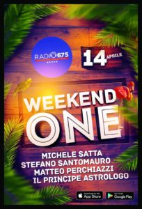 Weekend One radio program poster 14th April 2018
